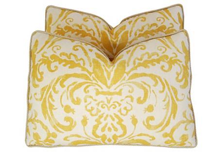 Gold & Ivory Linen & Silk Pillows, Pair
