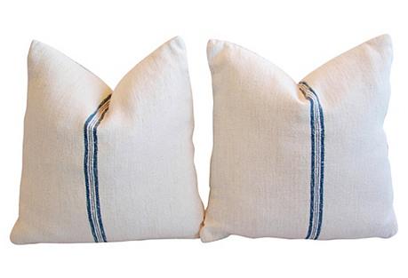 European Homespun Textile Pillows, Pair