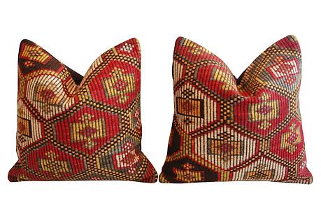 Turkish Cicim Kilim Wool Pillows, Pair