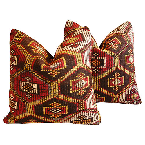 Turkish Cicim Kilim Wool Pillows, Pr