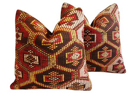 Turkish Cicim Kilim Wool Pillows, Pr