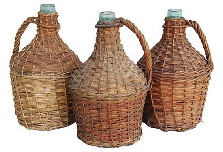 French Wicker Demijohn Bottles, S/3