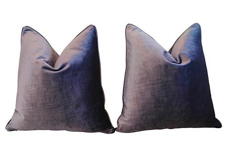 Eggplant Purple Velvet Pillows, Pair