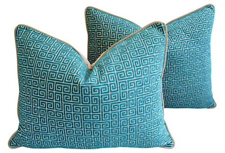 Turquoise Greek Key Velvet Pillows, Pair