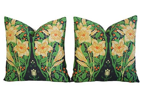 Golden Yellow Star Blossom Pillows, Pair