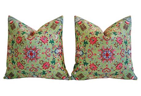 Green & Pink Floral Linen Pillows, Pair