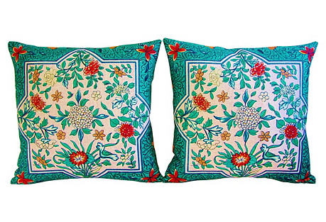 Floral Blossom Linen Pillows, Pair