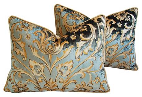 Brunschwig Fils Silk Velvet Pillows, Pr