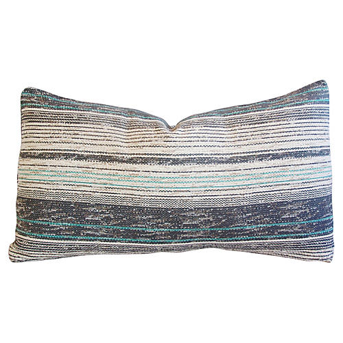 French Gray & Teal Woven Textile Pillow