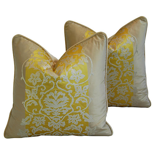 Italian Bergamo Silk/Velvet Pillows, Pr