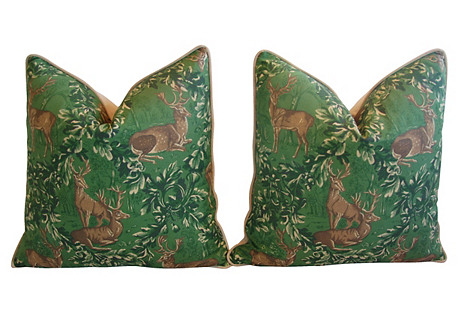 English Woodland Deer Pillows, Pair
