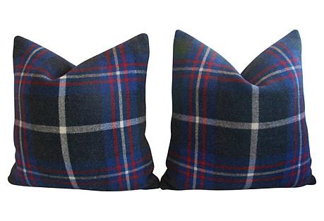 English Plaid Wool & Velvet Pillows, Pr