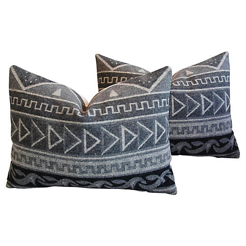 Trading Camp Wool Blanket Pillows, Pair
