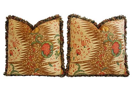 French Pierre Frey & Silk Pillows, Pair