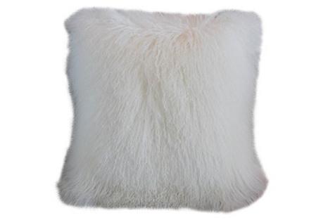 White Tibetan Lambs Wool & Velvet Pillow