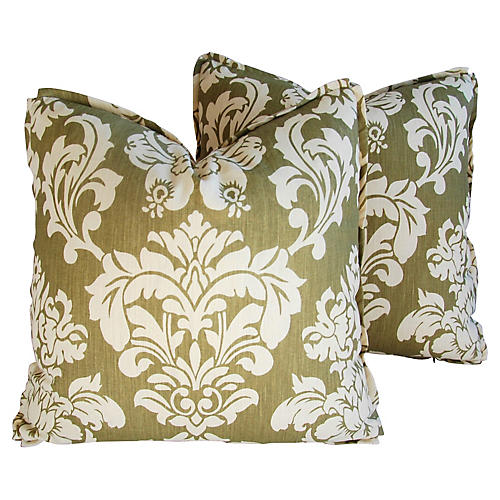 Brule Fabric Randall Damask Pillows, Pr