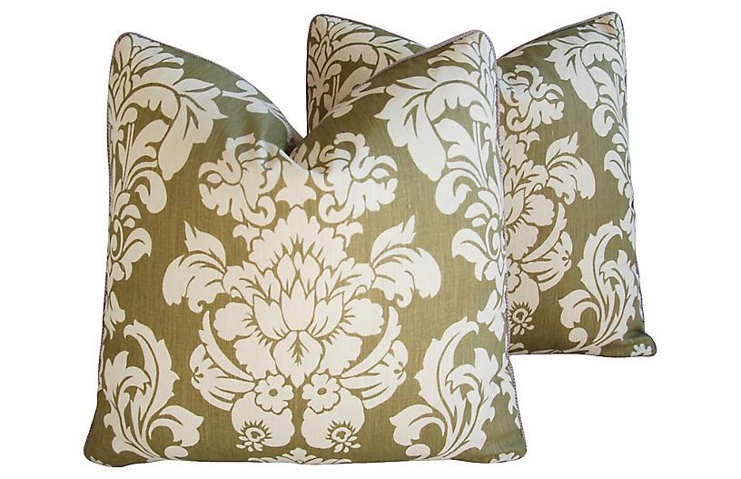 Brule Fabric Randall Damask Pillows, Pr