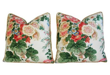 Lee Jofa Hollyhock Floral Pillows, Pair