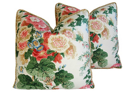 Lee Jofa Hollyhock Floral Pillows, Pair