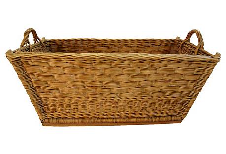 French Woven Willow/Wicker Market Basket