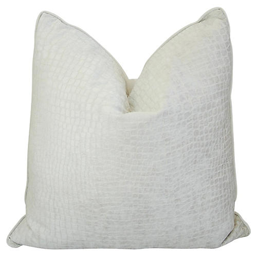 White Crocodile Textured Velvet Pillow
