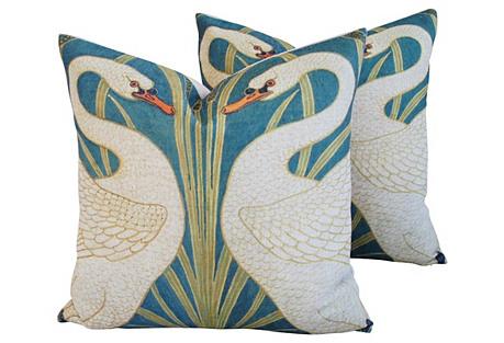 Graceful Double Swan Linen Pillows, Pair