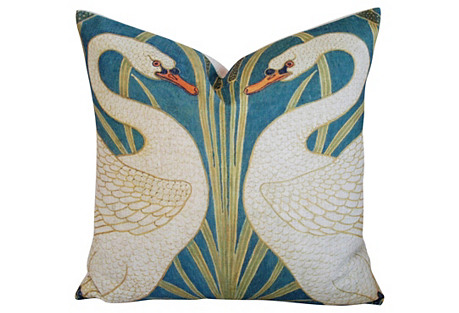 Graceful Double Swan Linen Pillow