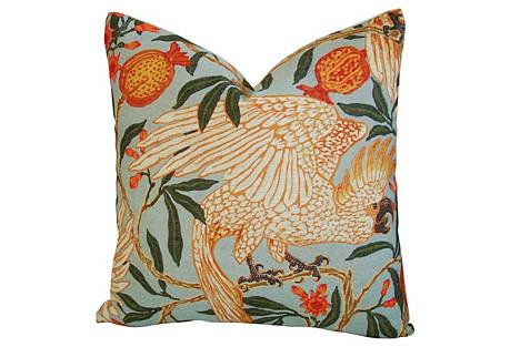 Tropical Parrot/Pomegranates Pillow