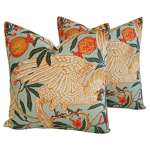 Tropical Parrot/Pomegranates Pillows, Pr