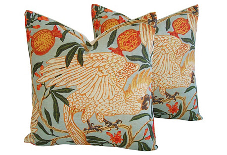Tropical Parrot/Pomegranates Pillows, Pr