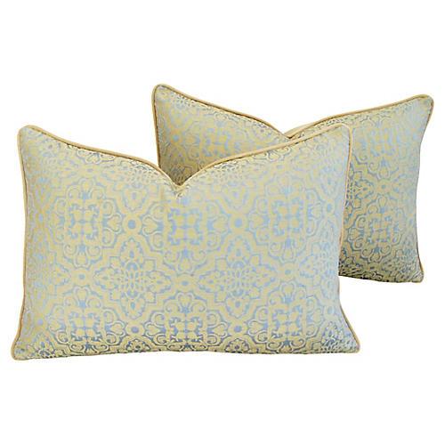 Clarence House Silk Fabric Pillows, Pr