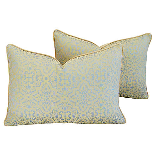 Clarence House Silk Fabric Pillows, Pr