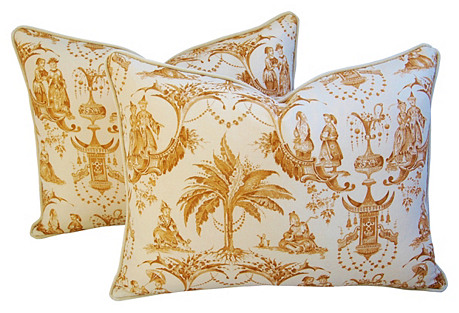 Clarence House Fabric Toile Pillows, Pr