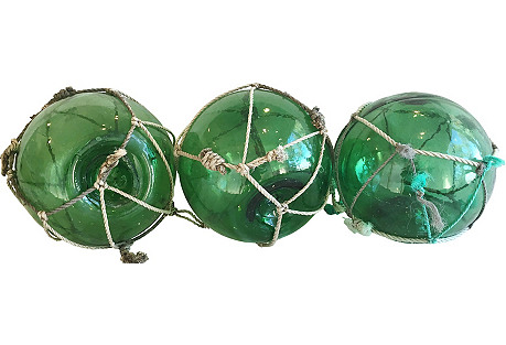 Nautical Green Glass Fishing Floats, S/3