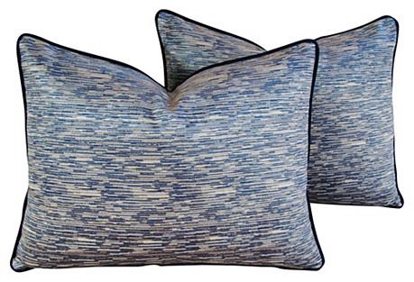Beach Nautical Marine Velvet Pillows, Pr