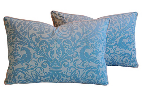 Italian Fortuny Uccelli Pillows, Pair