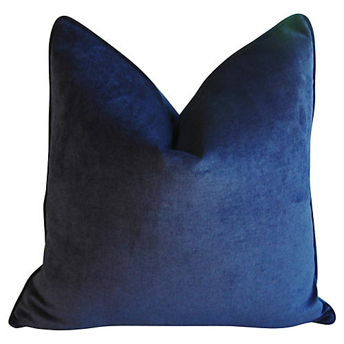 Midnight Deep Blue Velvet Pillow