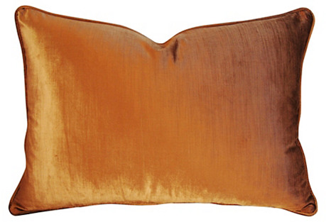 Shimmering Golden Copper Velvet Pillow