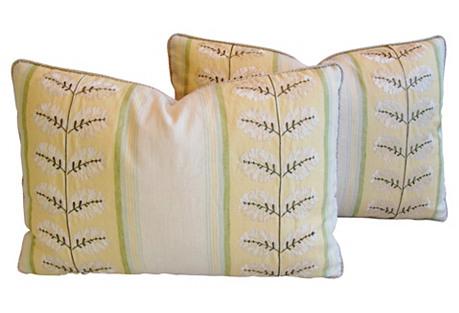 Cowtan & Tout Embroidered Pillows, Pair
