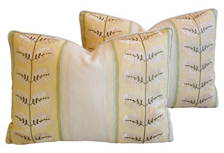 Cowtan & Tout Embroidered Pillows, Pair