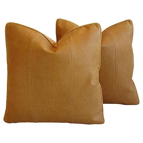 Italian Leather & Linen Pillows, Pair