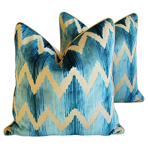Chevron Flamestitch Velvet Pillows, Pair