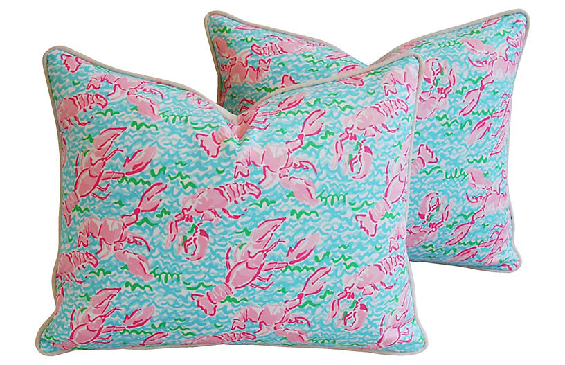 Nautical Pink & Red Lobster Pillows, Pr