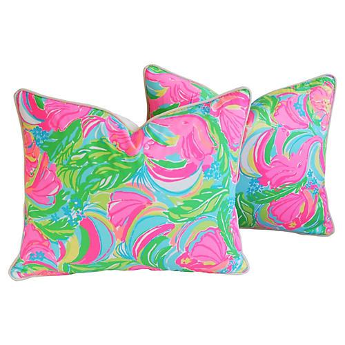Tropical Monkeys & Elephants Pillows, Pr