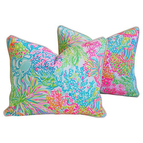 Nautical Beach Ocean Floral Pillows, Pr