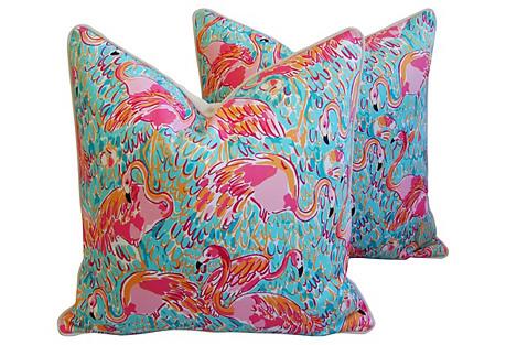 Tropical Pink Flamingos Pillows, Pair