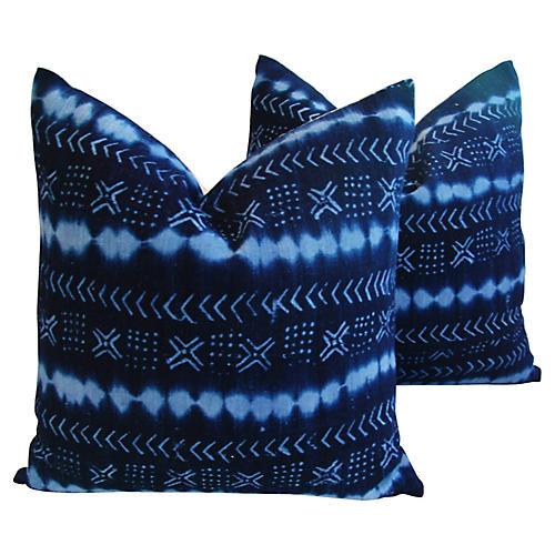 Handwoven Tribal Textile Pillows, Pair