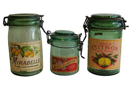 1930s French Canning Jars w/ Labels, S/3