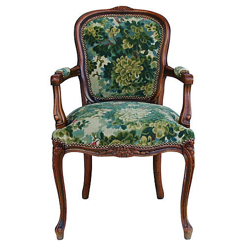 Scalamandré Marly Fabric Walnut Armchair