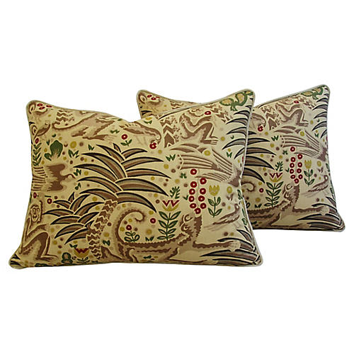 Clarence House Gibbon Fabric Pillows, Pr